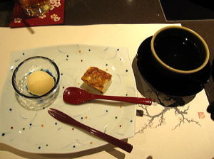 デザート2種;豆腐チーズケーキ&金柑アイス