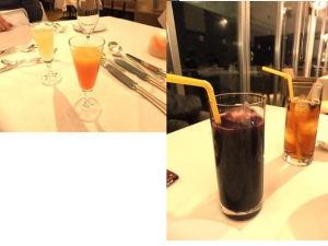 食前酒またはドリンク  別注文したドリンク(ブドウジュースとウーロン茶?)