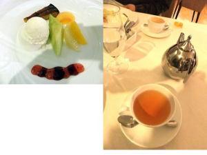 フレンチ肉コース(5,000円)のデザートと紅茶・コーヒー