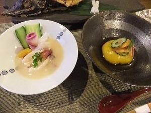 先付;かぼちゃ豆腐と酢の物;白老産の北寄 利休酢掛け