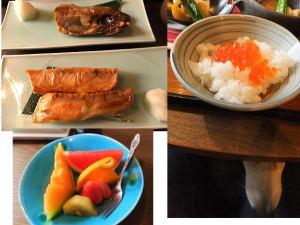 2種類の焼き魚は前日とはまた違う品、フルーツ・いくら丼