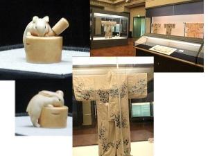 象牙の可愛いウサギ・着物など展示